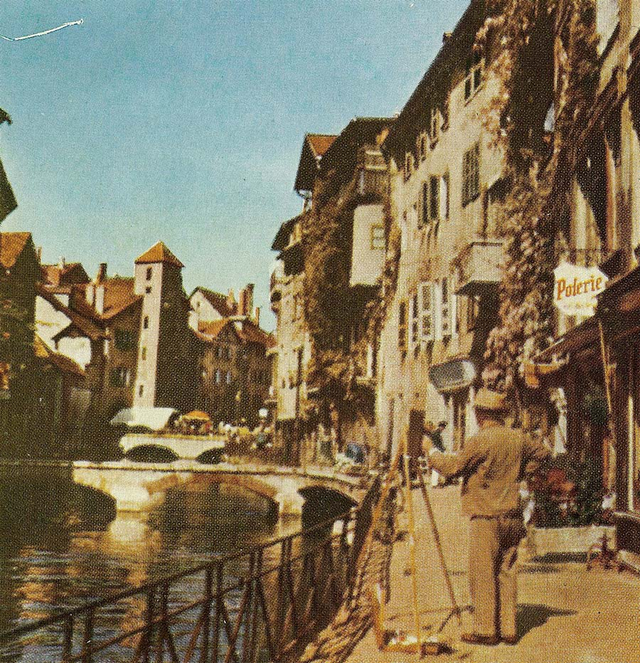 Lindgreen painting in Annecy, France (around 1950)